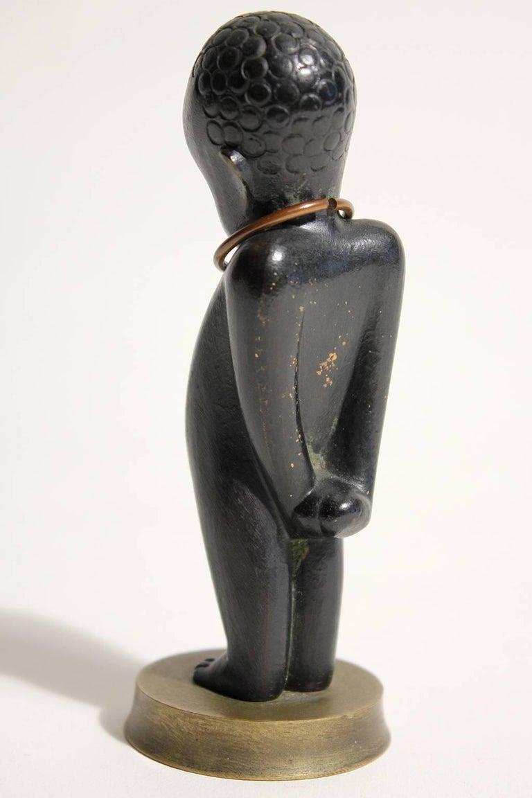 20th Century Art Deco Karl Hagenauer Vienna Austria Bronze African Child Figurine Sculpture For Sale