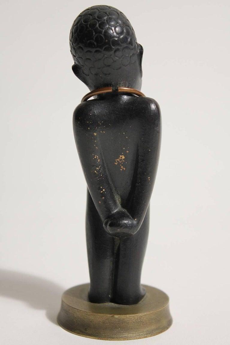 Art Deco Karl Hagenauer Vienna Austria Bronze African Child Figurine Sculpture For Sale 1