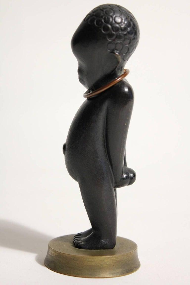 Art Deco Karl Hagenauer Vienna Austria Bronze African Child Figurine Sculpture For Sale 2
