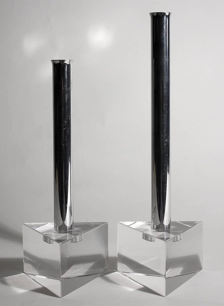 Great set of 1970s Lucite and chrome candlesticks. Form and design are great. In the tall candlestick is 11.75