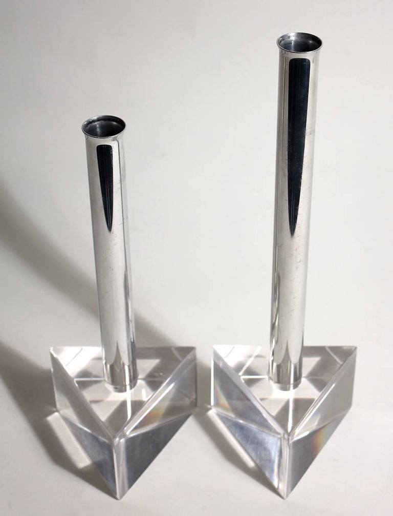 Modernist Lucite and Chrome Candlesticks in the Manner of Charles Hollis Jones In Excellent Condition For Sale In San Diego, CA