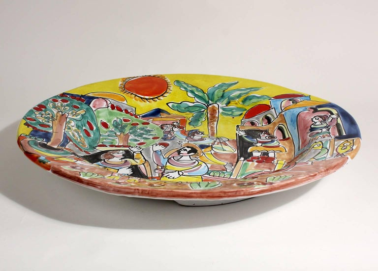 Vintage DeSimone Italian Pottery Large Charger In Excellent Condition For Sale In San Diego, CA