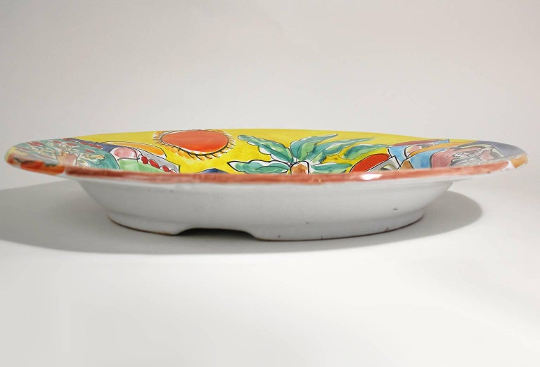 20th Century Vintage DeSimone Italian Pottery Large Charger For Sale