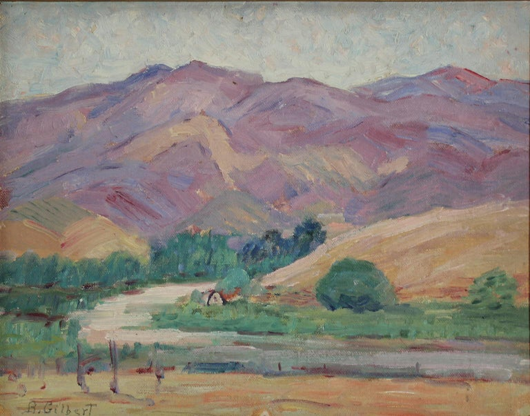 Beautiful plein air painting by listed San Diego impressionist artist Bess Gilbert. Dates from the 1930s and is of a mountain range in the back County of San Diego. Very extensive bio online about the artist and her rich San Diego history. In the