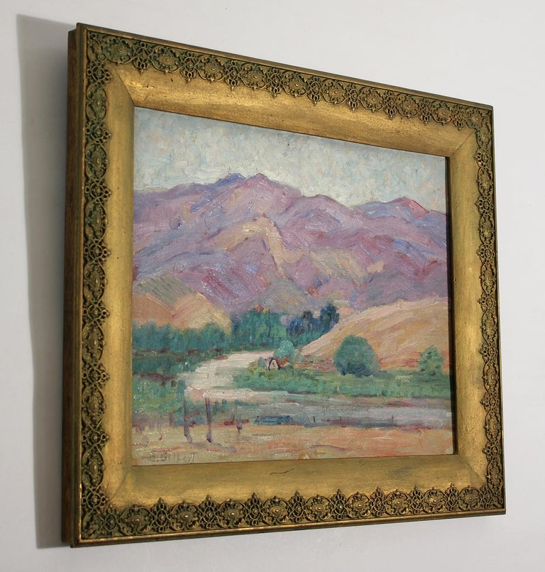 Listed San Diego Artist Bess Gilbert Impressionist Plein Air Oil Painting, 1930s In Excellent Condition For Sale In San Diego, CA