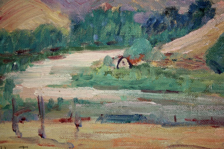 Listed San Diego Artist Bess Gilbert Impressionist Plein Air Oil Painting, 1930s For Sale 2