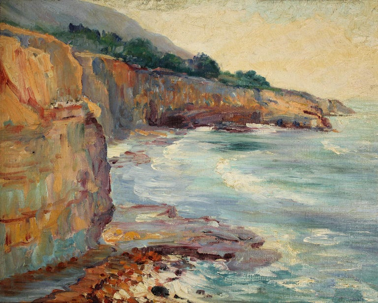 Beautiful plein air painting by listed San Diego impressionist artist Bess Gilbert. Dates from the 1930s and is of the ocean, beach and cliffs. Probably of Sunset Cliffs or Torrey Pines very extensive bio online about the artist and her rich San