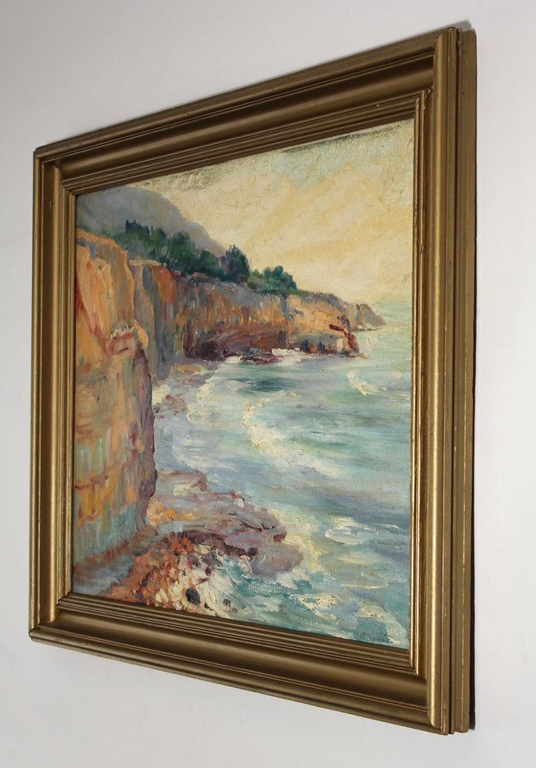 Mid-20th Century Listed San Diego Artist Bess Gilbert Impressionist Oil Painting Sunset Cliffs For Sale