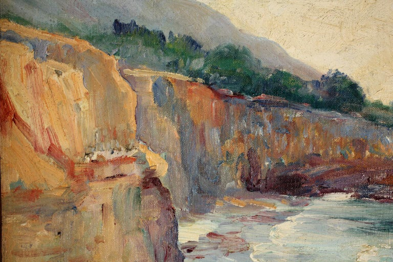Listed San Diego Artist Bess Gilbert Impressionist Oil Painting Sunset Cliffs For Sale 1