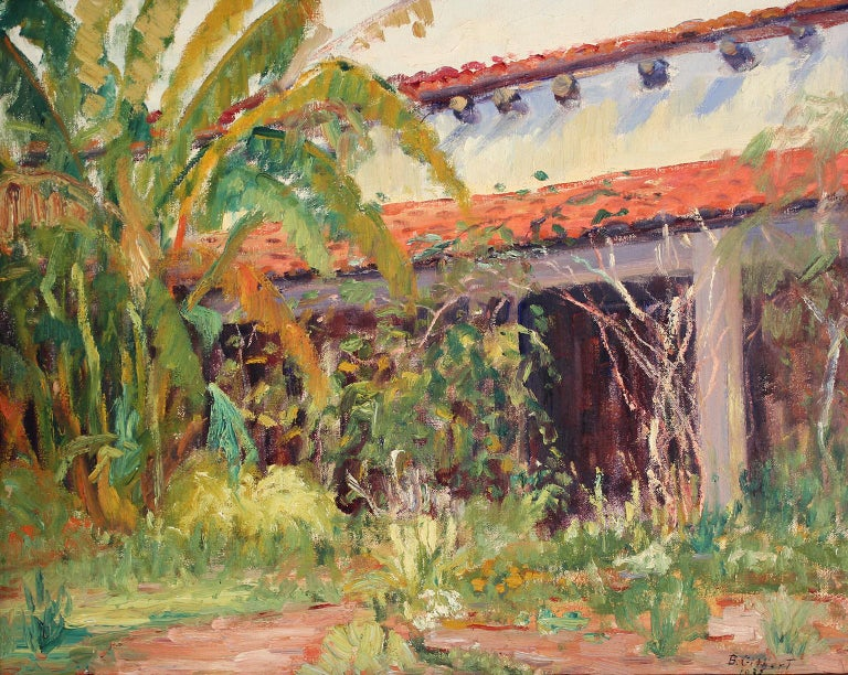Beautiful plein air painting by listed San Diego impressionist artist Bess Gilbert. Dated 1933 and is of an old adobe building, probably in Old Town San Diego or Balboa Park. Very extensive bio online about the artist and her rich San Diego history.