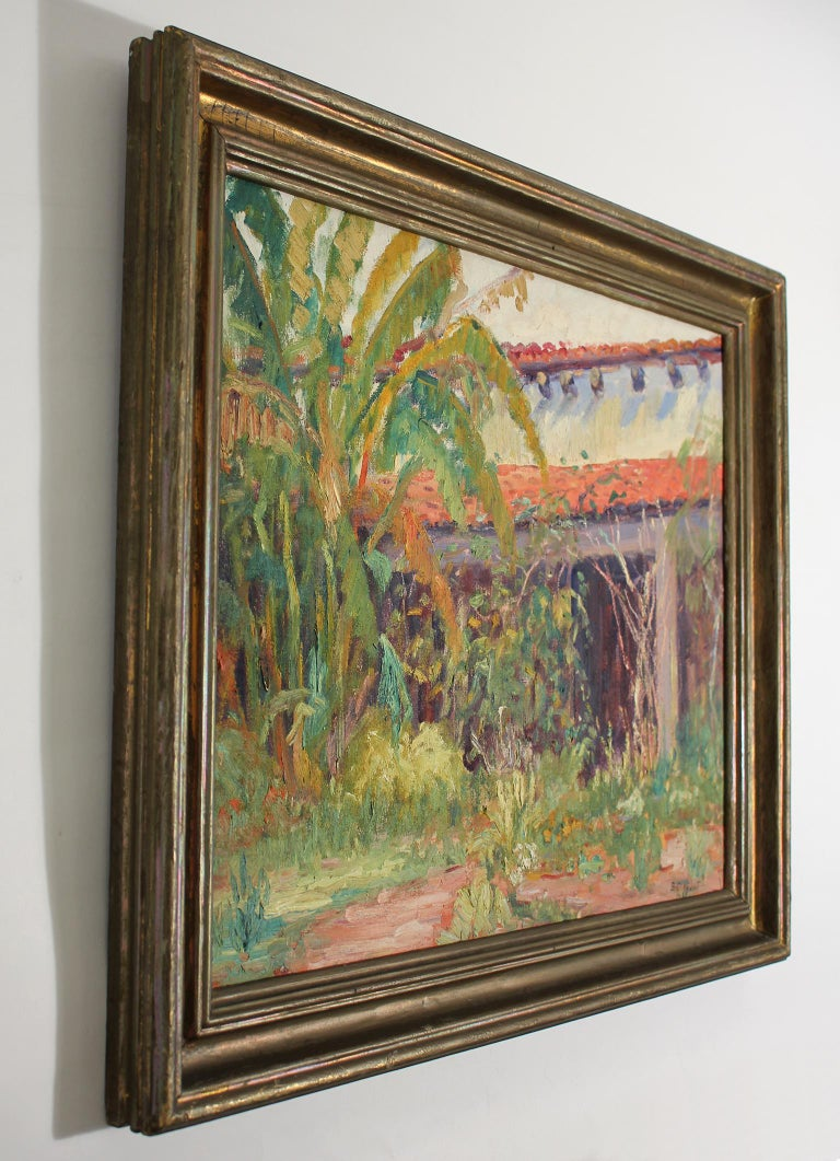 Listed San Diego Artist Bess Gilbert Impressionist Oil Painting Old Town, 1933 In Excellent Condition For Sale In San Diego, CA