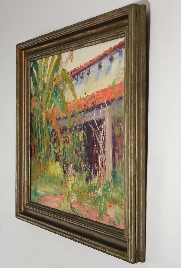 Mid-20th Century Listed San Diego Artist Bess Gilbert Impressionist Oil Painting Old Town, 1933 For Sale