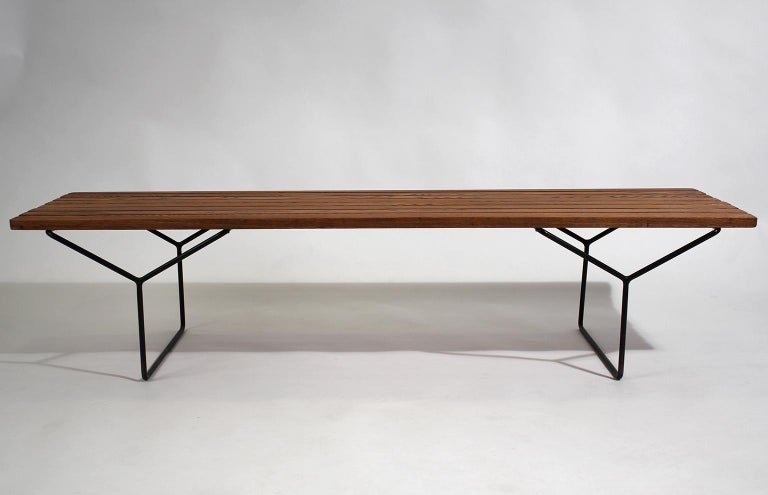 Early Harry Bertoia Wood Slat Bench for Knoll International, circa 1960 In Excellent Condition For Sale In San Diego, CA