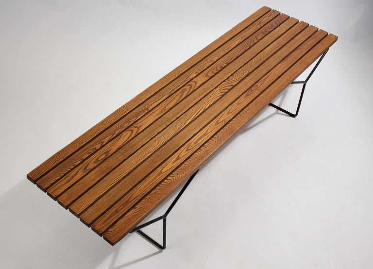 Early Harry Bertoia Wood Slat Bench for Knoll International, circa 1960 For Sale 1