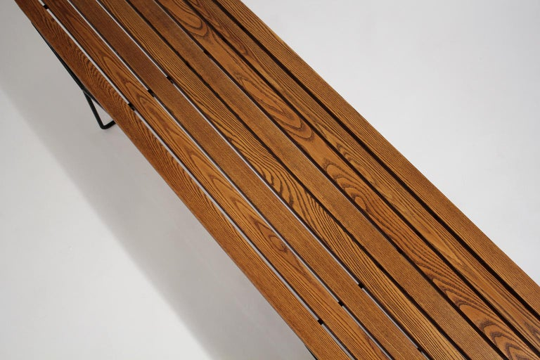 Early Harry Bertoia Wood Slat Bench for Knoll International, circa 1960 For Sale 3