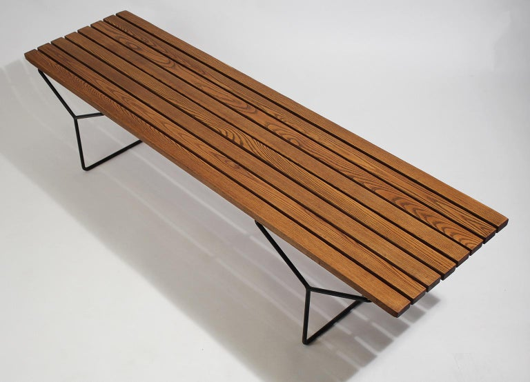 Early Harry Bertoia Wood Slat Bench for Knoll International, circa 1960 For Sale 5