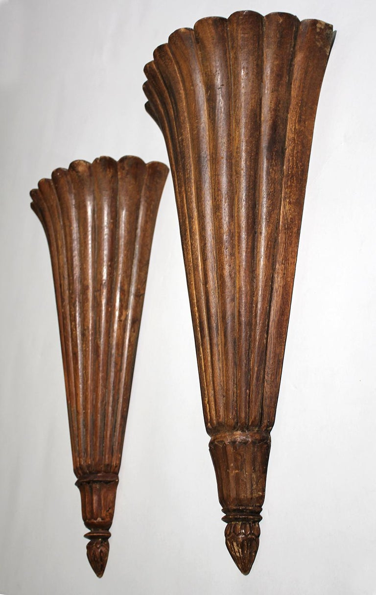 Antique French Art Deco Carved Wood Wall Shelves Sconces In Good Condition For Sale In San Diego, CA
