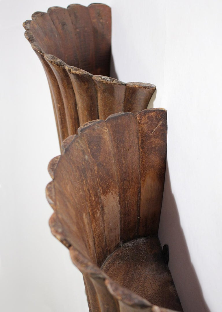 Antique French Art Deco Carved Wood Wall Shelves Sconces For Sale 3