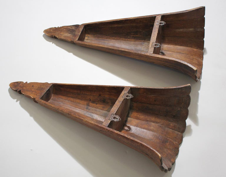 Antique French Art Deco Carved Wood Wall Shelves Sconces For Sale 5