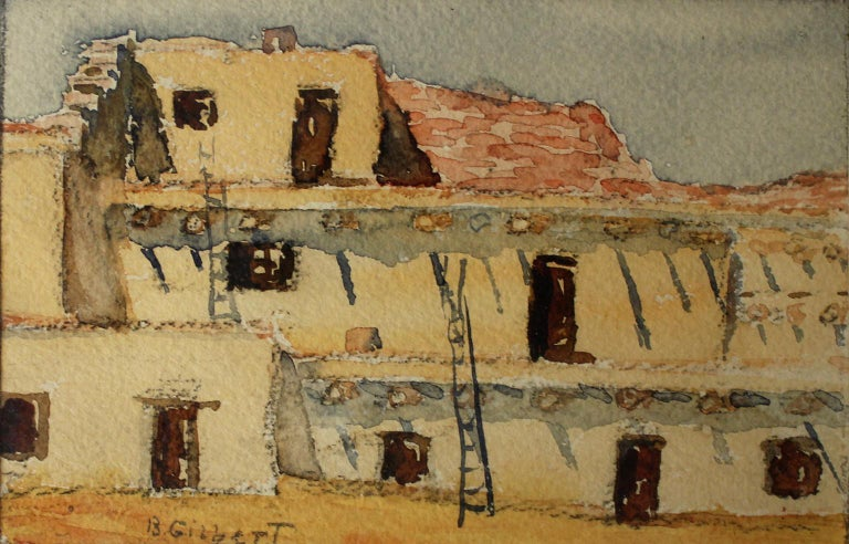 Beautiful watercolor painting by listed San Diego impressionist artist Bess Gilbert. Dates from the mid 1930s and is of The Indian Village located at the 1935-36 California Pacific International Exposition. This exposition was located in San Diego's