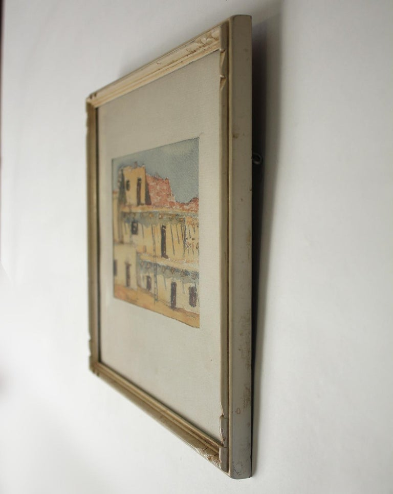 Mid-20th Century Listed San Diego Artist Bess Gilbert Watercolor Painting 1935 Exposition CPIE For Sale