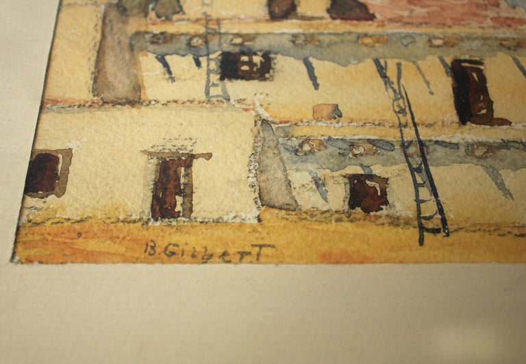 Listed San Diego Artist Bess Gilbert Watercolor Painting 1935 Exposition CPIE For Sale 2