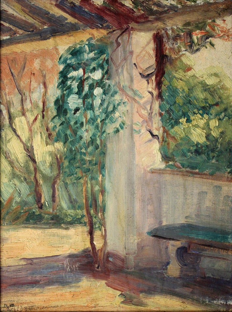 Beautiful oil painting by listed San Diego impressionist artist Bess Gilbert. Dates from the 1930s and is titled