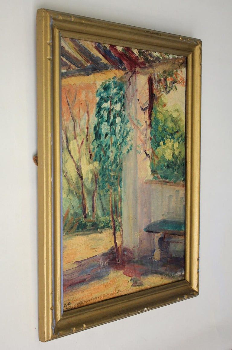 Listed San Diego California Artist Bess Gilbert Oil Painting Balboa Park In Excellent Condition For Sale In San Diego, CA