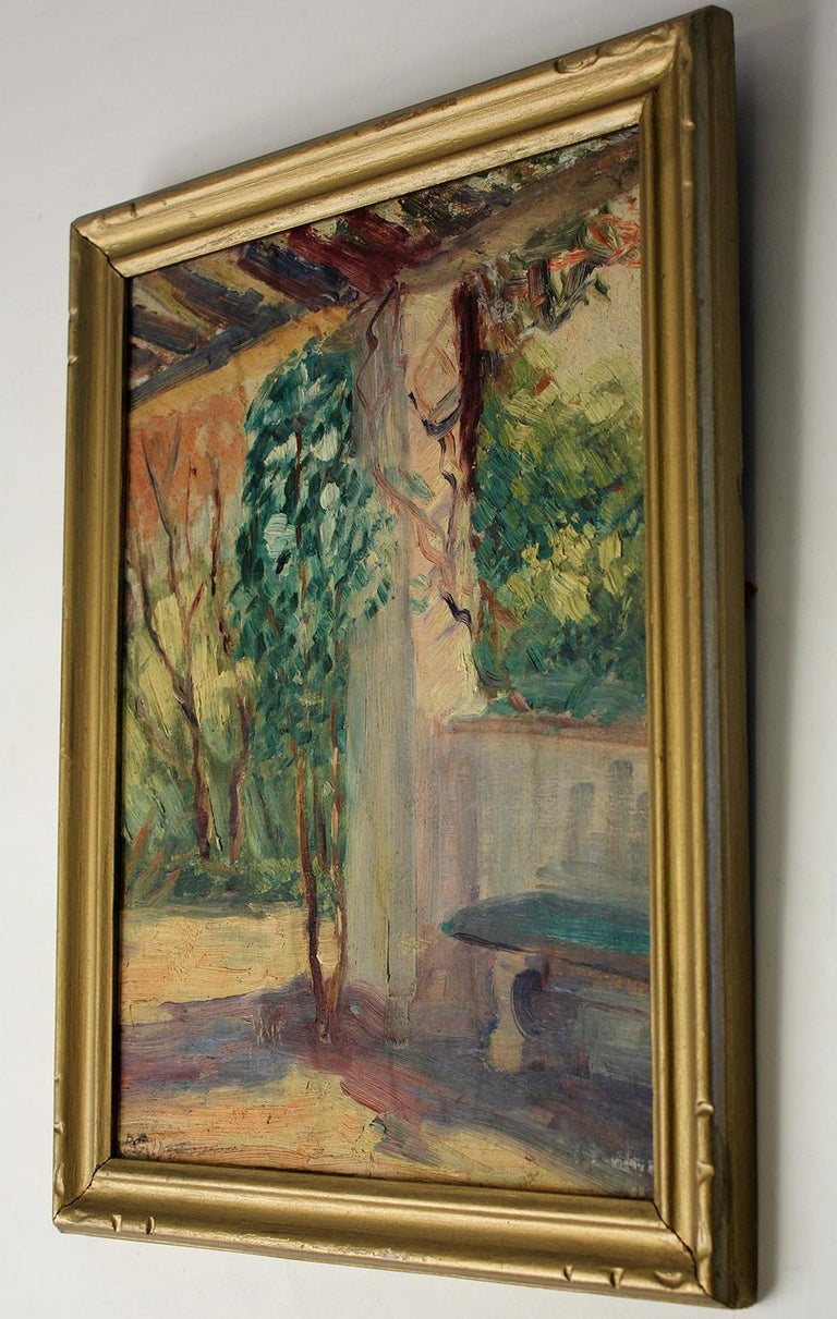 Mid-20th Century Listed San Diego California Artist Bess Gilbert Oil Painting Balboa Park For Sale
