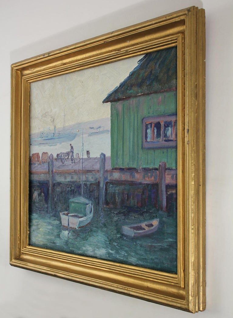 Listed California Artist Bess Gilbert Oil Painting San Diego Harbor Pier, 1930s In Excellent Condition For Sale In San Diego, CA