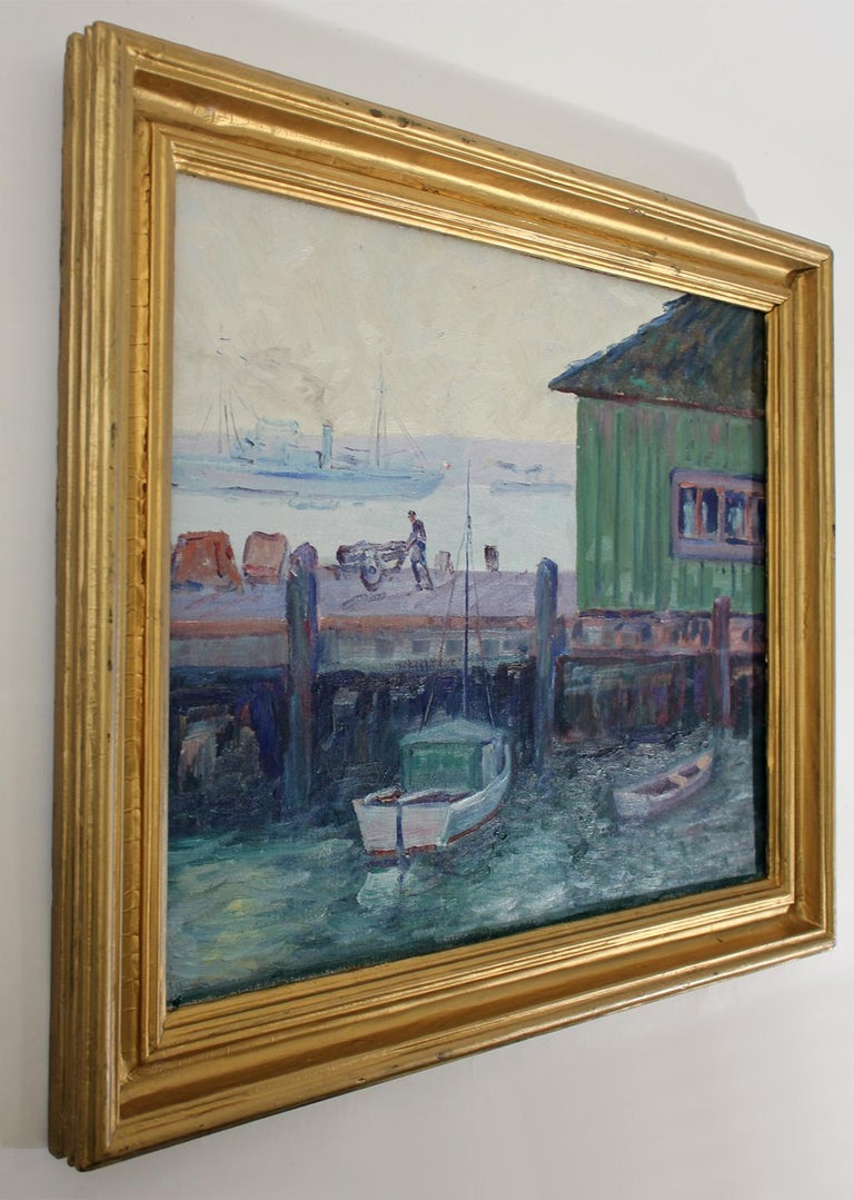 Mid-20th Century Listed California Artist Bess Gilbert Oil Painting San Diego Harbor Pier, 1930s For Sale
