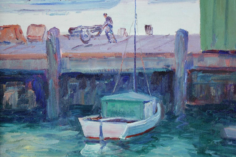 Listed California Artist Bess Gilbert Oil Painting San Diego Harbor Pier, 1930s For Sale 2