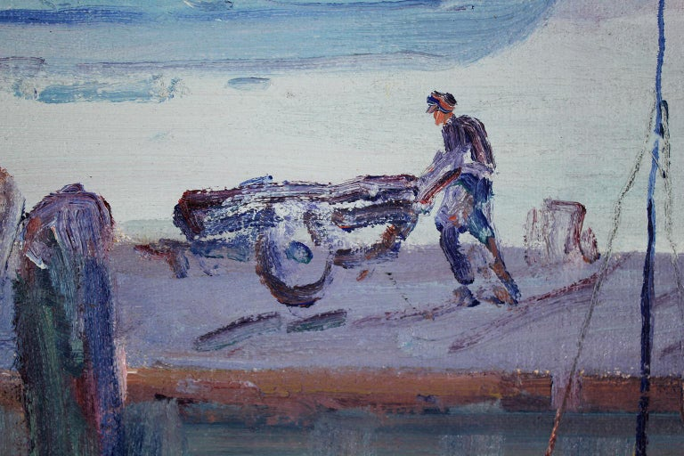 Listed California Artist Bess Gilbert Oil Painting San Diego Harbor Pier, 1930s For Sale 3