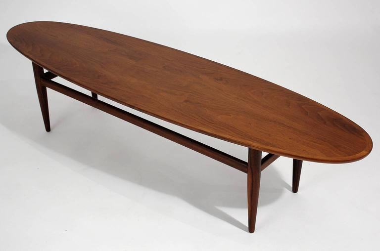 Mid Century Modern Henredon Modernist Surfboard Walnut Coffee Table For