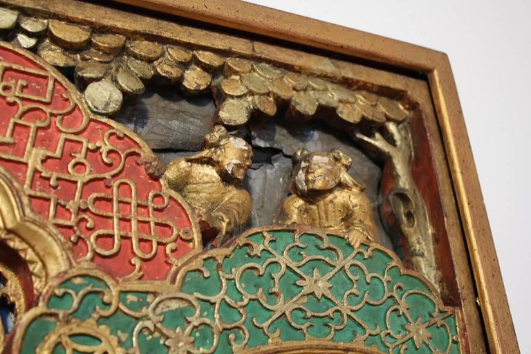 19th Century Chinese Carved Giltwood Panel For Sale 4