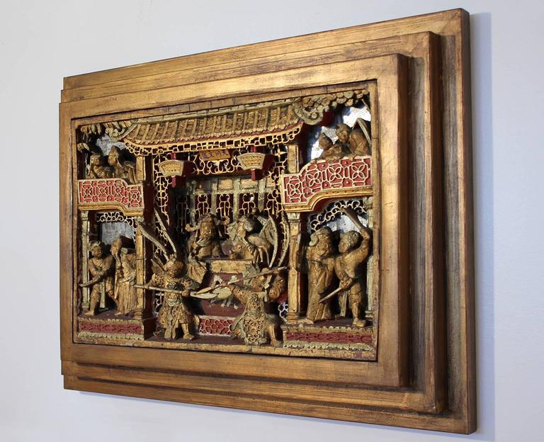19th Century Chinese Carved Giltwood Panel In Excellent Condition For Sale In San Diego, CA