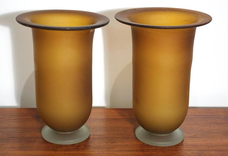 Mid-Century Modern Large Murano Glass Vase Pair For Sale