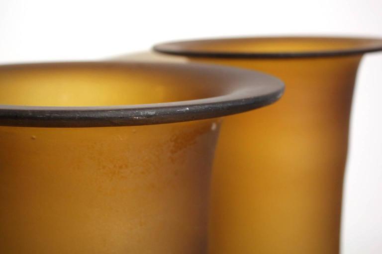 Italian Large Murano Glass Vase Pair For Sale