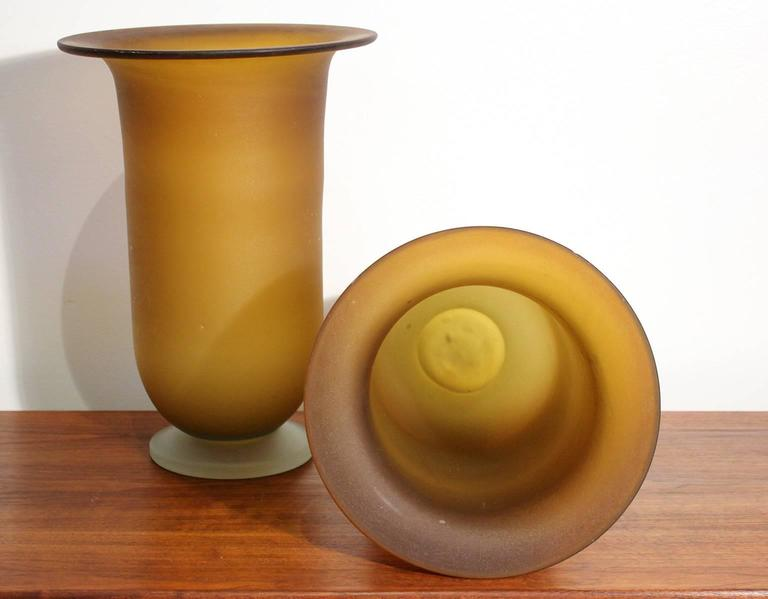Large Murano Glass Vase Pair For Sale 2
