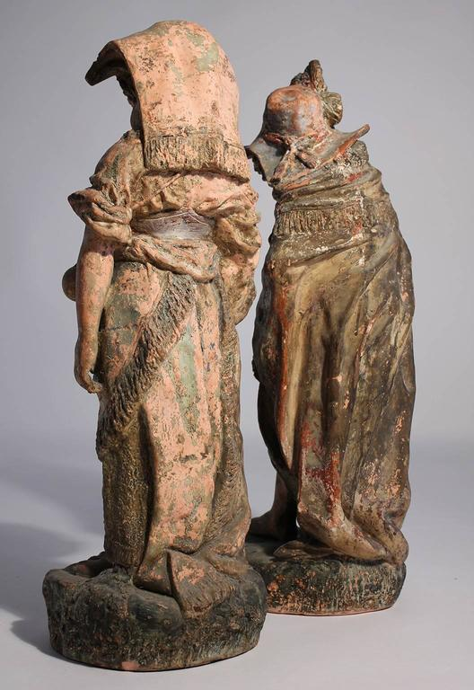 Antique Terracotta French Renaissance Garden Sculpture Statues In Excellent Condition For Sale In San Diego, CA