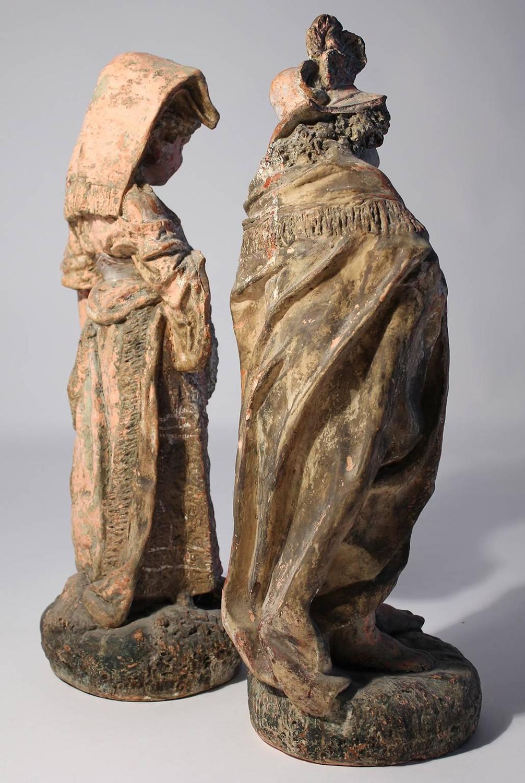 Old Garden Statue: Antique Terracotta French Renaissance Garden Sculpture