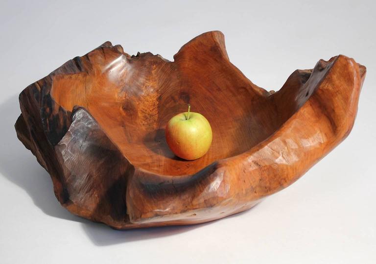Large vintage brutalist burl wood centerpiece bowl at stdibs