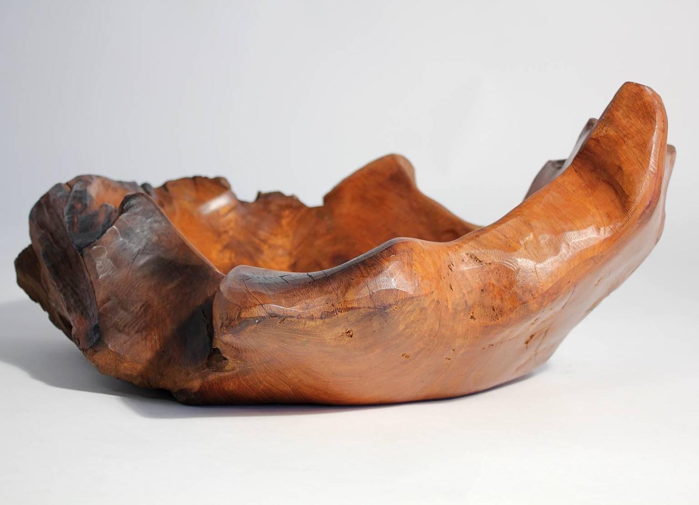Large vintage brutalist burl wood centerpiece bowl for