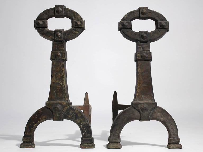 Antique Mission Arts And Crafts Cast Iron Pair Of Andirons At 1stdibs