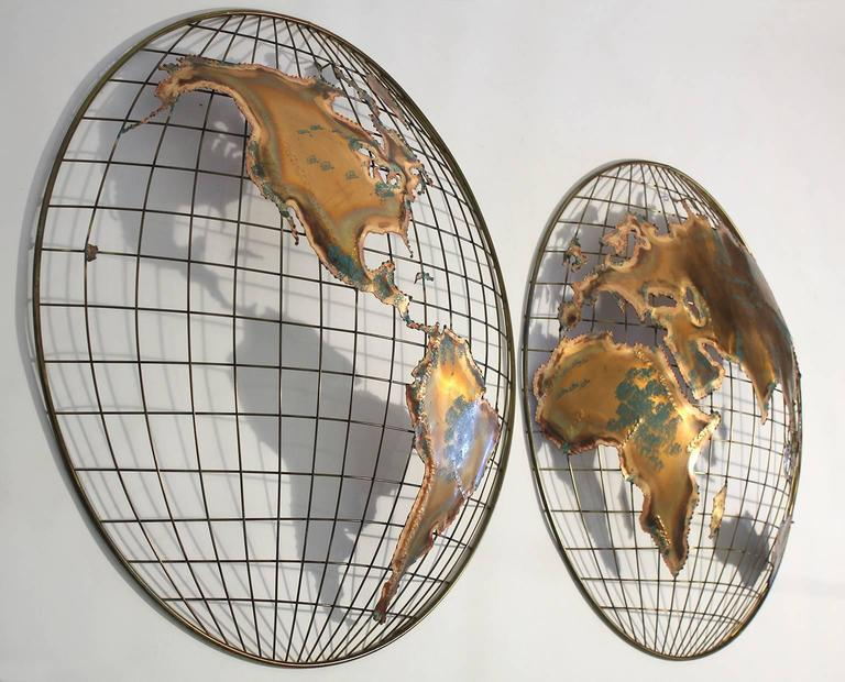 Curtis Jere Modernist World Map Globe Sculpture At 1stdibs