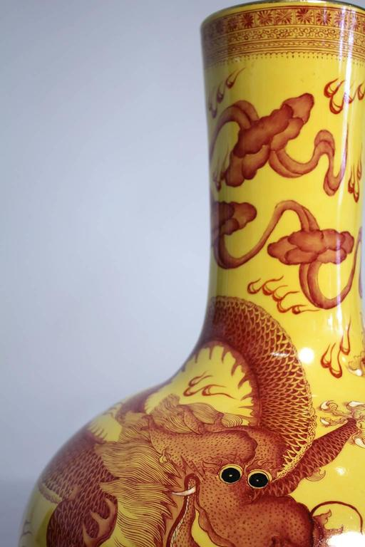 Vintage Chinese Hand-Painted Imperial Dragon Large Porcelain Vase 7