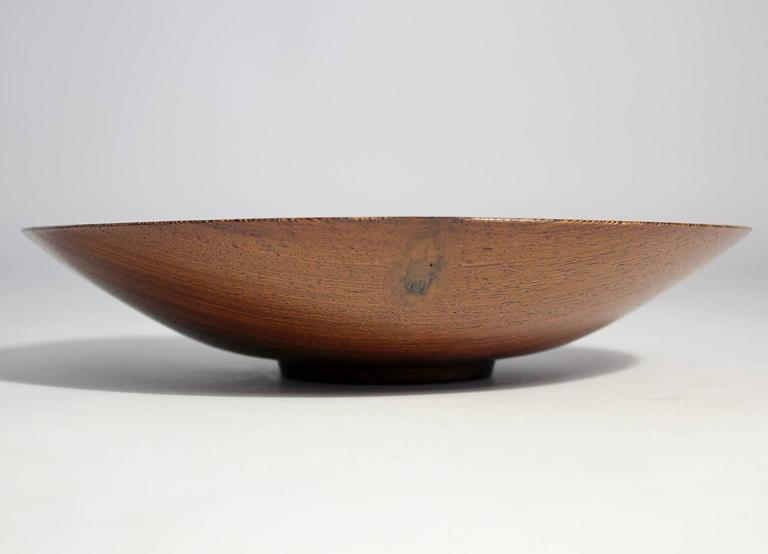 Expertly turned wood art bowl by Bob Stocksdale made of wenge wood from Africa. 10.75