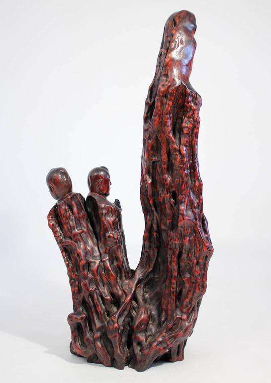 Large Chinese Carved Root Wood Guan Yin Sculpture For Sale 1