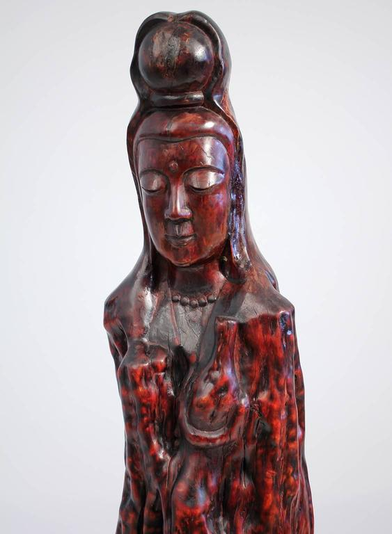 Large Chinese Carved Root Wood Guan Yin Sculpture For Sale 2