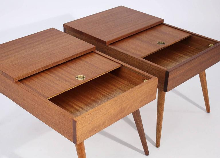 Mid-Century Modern Brown Saltman End Tables by John Keal For Sale